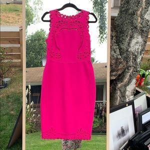 Ted Baker hot pink midi dress